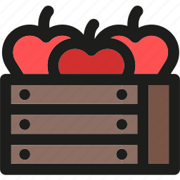 apples, box, farm, fruit, fruits, harvest icon