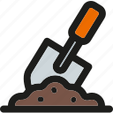 construction, equipment, gardening, ground, repair, service, shovel icon