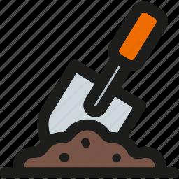 construction, equipment, gardening, ground, repair, service, shovel icon
