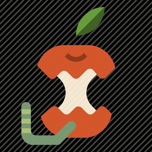 apple, diet, fruit, organic, worm icon