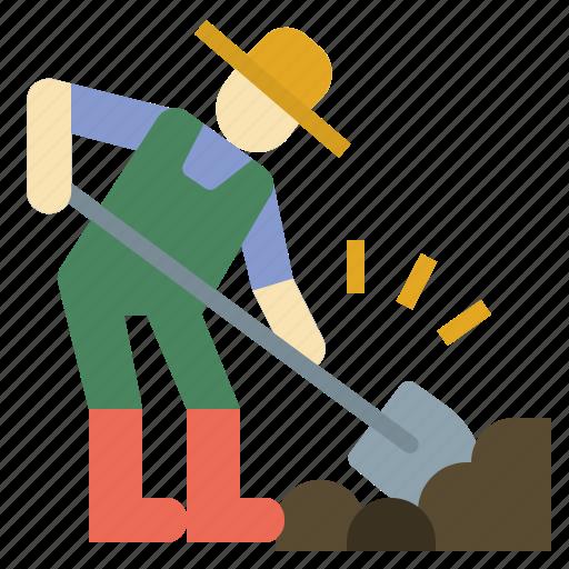 dig, digging, people, shovel, worker icon