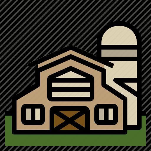 barn, building, farm, gardening, silo icon