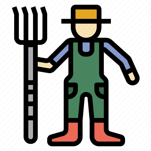 farmer, people, rake, ranch, work icon