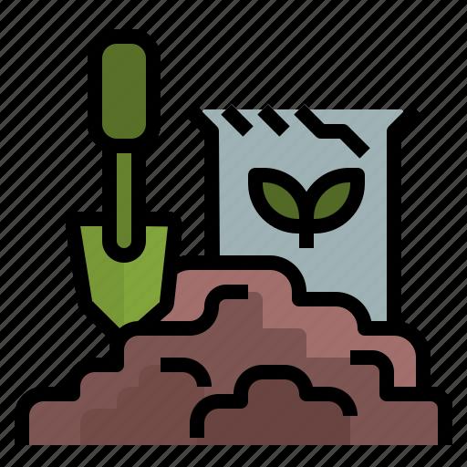 gardening, gardentool, ground, shovel, soil icon