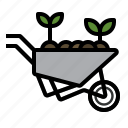 barrow, farming, gardening, tools, wheelbarrow icon