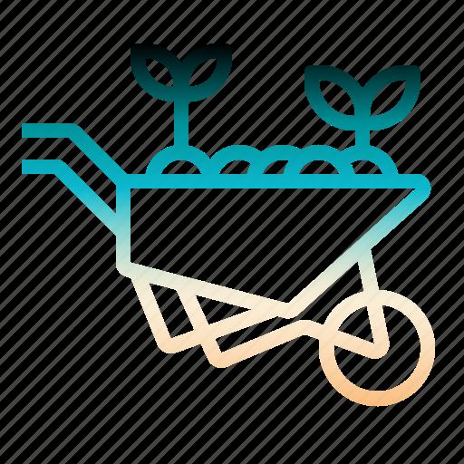barrow, farming, gardening, tools, wheelbarrow icon