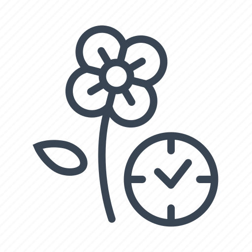 flower, flowering, grow, growth, time icon