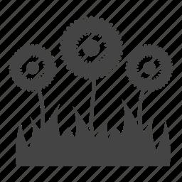 flowers, garden, gardening, grass, leaves, nature, sunflower icon