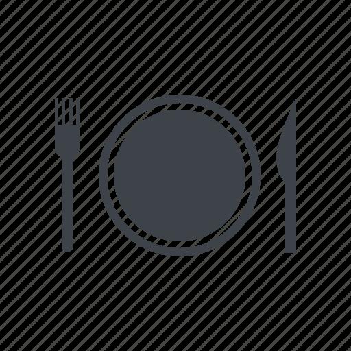 fork, kitchen, knife, plate, utensils icon