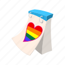 calendar, cartoon, date, day, heart, month, rainbow icon