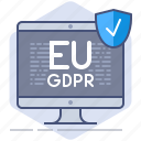 computer, data, gdpr, pc, policy, privacy, secure icon