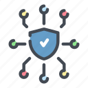 connection, data, network, security, shield, storage, tick icon