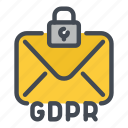 email, gdpr, information, lock, mail, protection, security icon