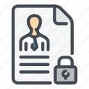 data, document, info, information, lock, personal, protection icon