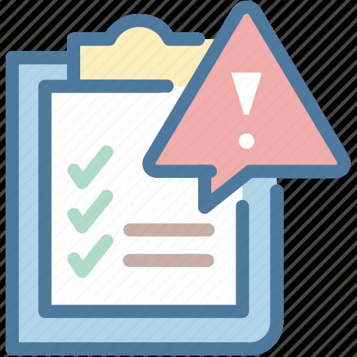 governance, list, risk, warning icon