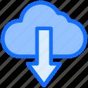 cloud, arrow, down, download