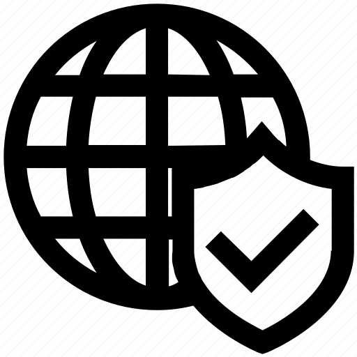 globe, internet, protection, security, shield, tick, world icon