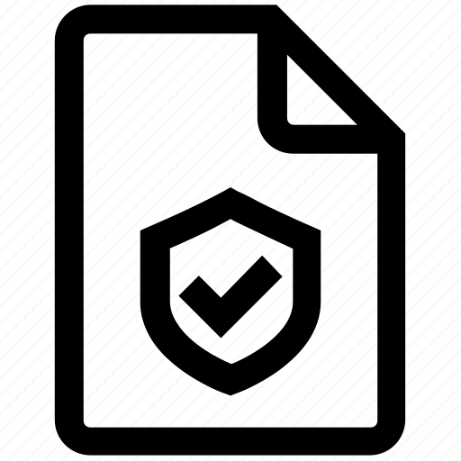 accept, document, page, protection, security, sheet, shield icon