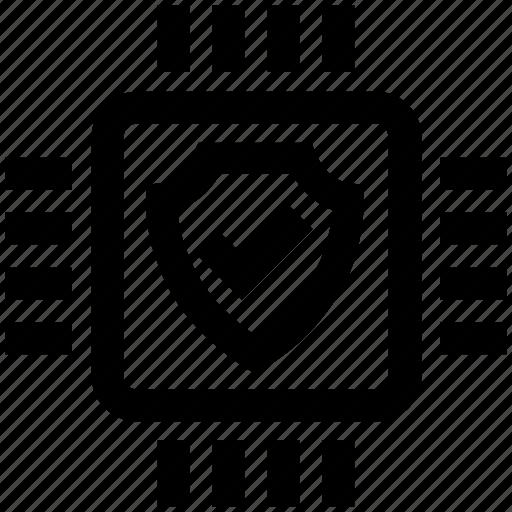accept, cpu, hardware, microchip, processor, security, shield icon