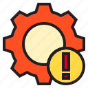 computer, data, error, gear, hadware, service icon