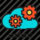 cloud, gear, computer, hardware, service