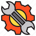 gear, hardware, service, wrench icon