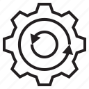 computer, cycle, data, gear icon