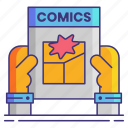 book, comic, geek, hands icon