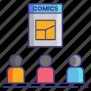book, comic, convention icon