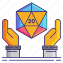 d20, dice, game, hands icon