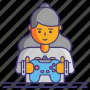 gamepad, gamer, girl icon