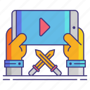 play, role, series, streaming icon