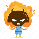angry, emoji, emoticon, geek, girl, sticker icon