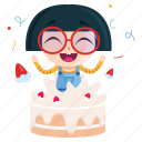 birthday, emoji, emoticon, geek, girl, sticker icon
