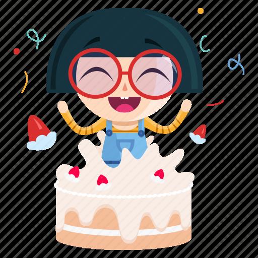 birthday, emoji, emoticon, geek, girl, sticker icon