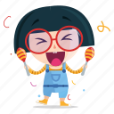 celebrate, emoji, emoticon, geek, girl, sticker icon