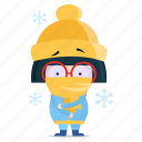 cold, emoji, emoticon, geek, girl, sticker icon