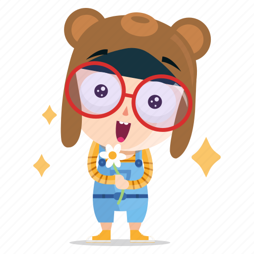 cute, emoji, emoticon, geek, girl, sticker icon