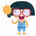 emoji, emoticon, geek, girl, idea, sticker icon