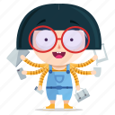 emoji, emoticon, geek, girl, multitasking, sticker icon