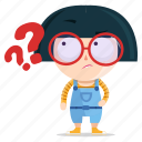 emoji, emoticon, geek, girl, question, sticker
