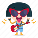 emoji, emoticon, geek, girl, rockstar, sticker icon