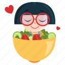 emoji, emoticon, geek, girl, salad, sticker icon