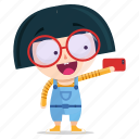emoji, emoticon, geek, girl, selfie, sticker icon