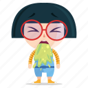 emoji, emoticon, geek, girl, sick, sticker icon