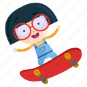 emoji, emoticon, geek, girl, skateboard, sticker icon