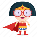 emoji, emoticon, geek, girl, hero, sticker, super icon
