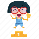 emoji, emoticon, geek, girl, sticker, winner icon
