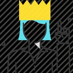crown, female, leader, queen, team, winner, woman icon