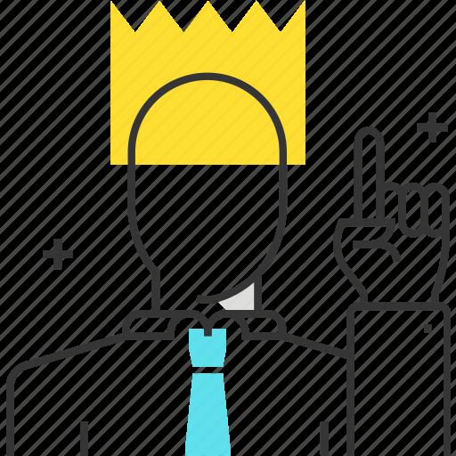 crown, king, leader, male, man, team, winner icon
